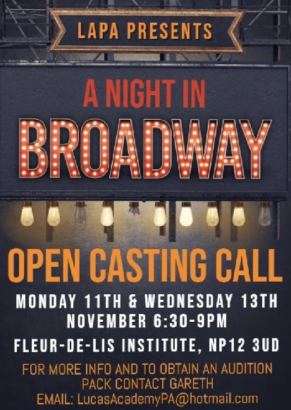 OPEN CASTING CALL - CALLING ALL MALE AND FEMALE SINGERS, DANCERS AND ACTORS.